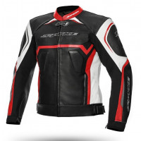 Spyke JEREZ EVO leather jacket Black White Red