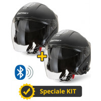 Kit JET Connect Black - 2 Befast JET Connect jet helmets with integrated intercom