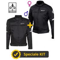 Kit coppia Alltime CE 3 strati Nero - Giacca moto certificata Befast Uomo + Donna