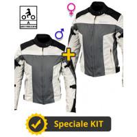 Kit coppia Street CE Nero Grigio - Giacca moto certificata Befast Uomo + Donna