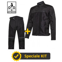 Kit completo DUNE CE Nero- Giacca moto certificata Befast + Pantaloni moto certificati Befast