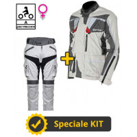 Touring Tech Lady CE 3-layer Grey kit - Befast certified women's motorcycle jacket + Befast certified women's motorcycle pants