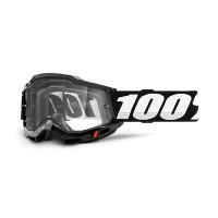 100% Accuri 2 enduro moto black cross goggle clear lens