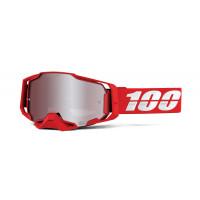 100% armega war red mx goggle hiper silver mirror lens