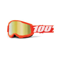 100% Strata 2 orange cross goggle mirror gold lens