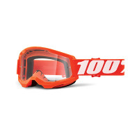 100% Strata 2 orange cross goggle clear lens