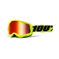 100% Strata 2 yellow cross goggle mirror red lens