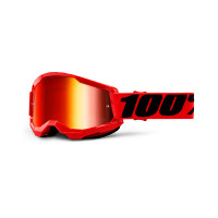 100% Strata 2 red cross goggle mirror red lens