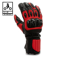 Befast TRONIK CE certified leather raging gloves Black Red
