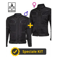Kit coppia Stein CE 3 strati Nero - Giacca moto certificata Befast Uomo + Donna