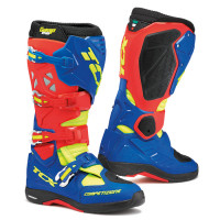 Tcx Comp Evo Michelin cross boots Red Bright Blue Yellow fluo