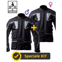 Kit coppia Touring Tech CE Nero - Giacca moto certificata Befast Uomo + Donna