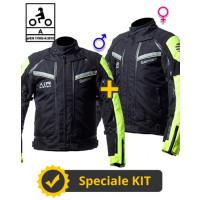 Kit coppia Transformer CE Nero Giallo- Giacca moto certificata Befast Uomo + Donna