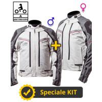 Kit coppia Transformer CE Grigio- Giacca moto certificata Befast Uomo + Donna
