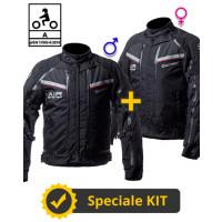 Kit coppia Transformer CE Nero - Giacca moto certificata Befast Uomo + Donna