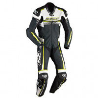 Ixon Mirage summer motorcycle Kangaroo Leather Suit Black White Yellow
