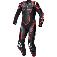 Spyke ARAGON RACE 1pc summer leather racing suit Black Fluo Red