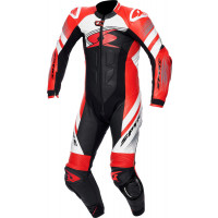 Spyke ESTORIL RACE 1pc summer leather racing suit Black White Fluo Red
