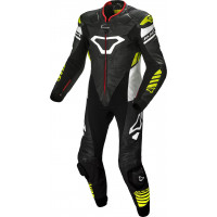 Macna Tracktix full leather suit Black White Neon yellow