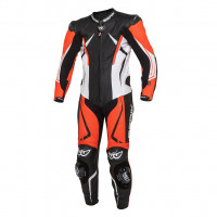 Full racing leather suit Berik LS1-191314 CE Certified Black White Red Fluo