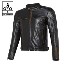 Carburo TWISTER CE certified leather jacket Black,
