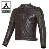 Carburo TWISTER CE certified leather jacket Brown