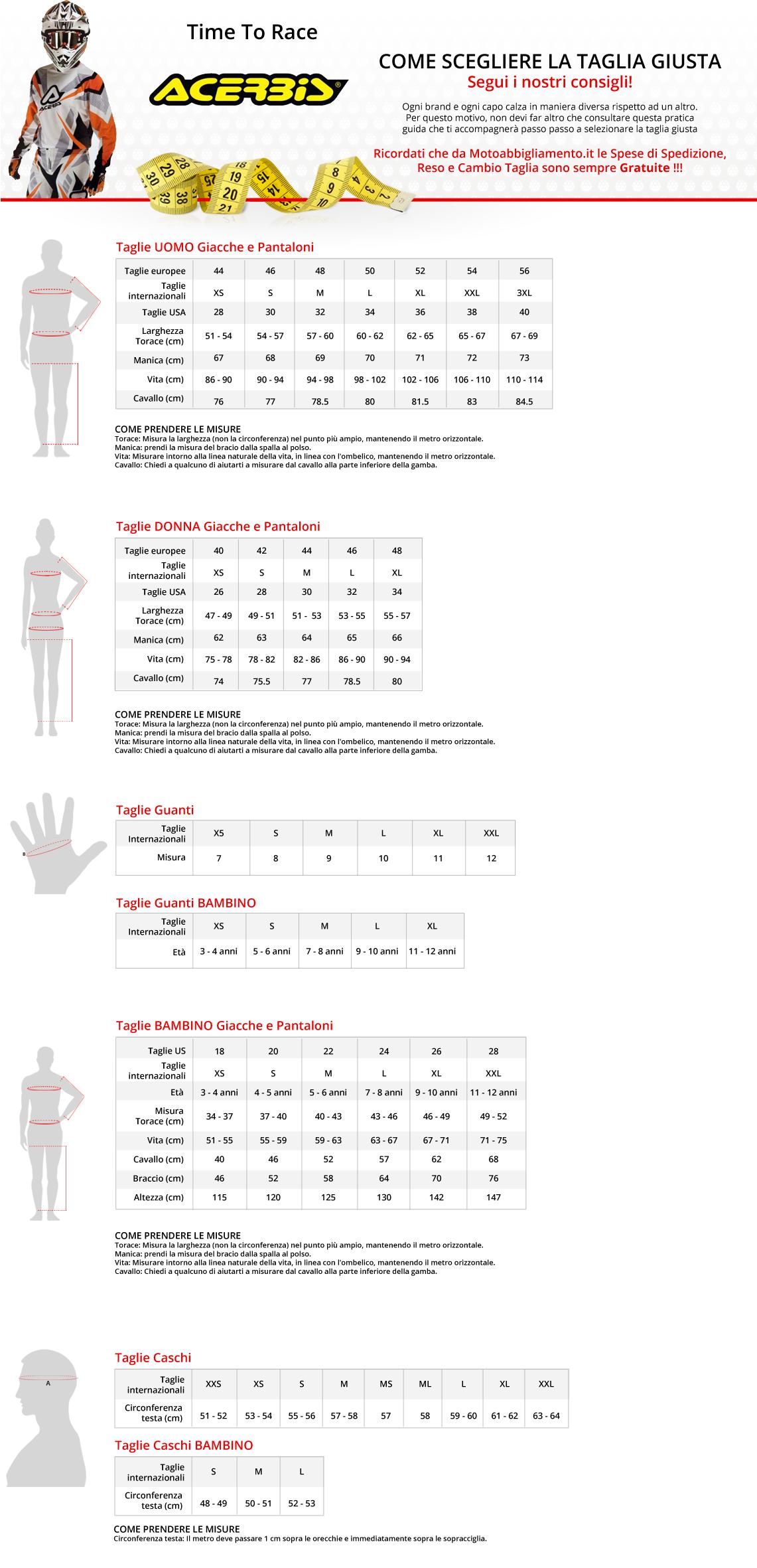 Tabella di comparazione taglie - Acerbis