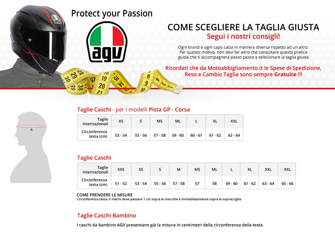 Tabella di comparazione taglie - AGV