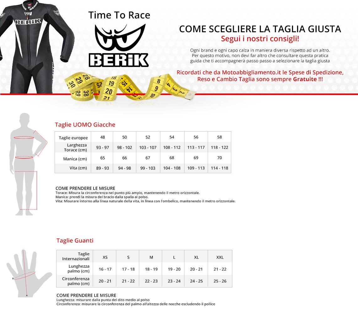 Come scegliere la taglia giusta - Berik