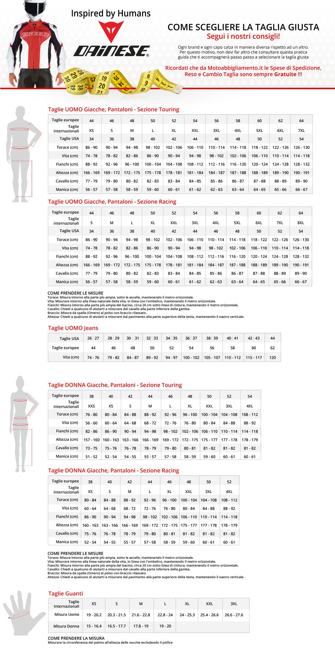 Tabella di comparazione taglie - Dainese