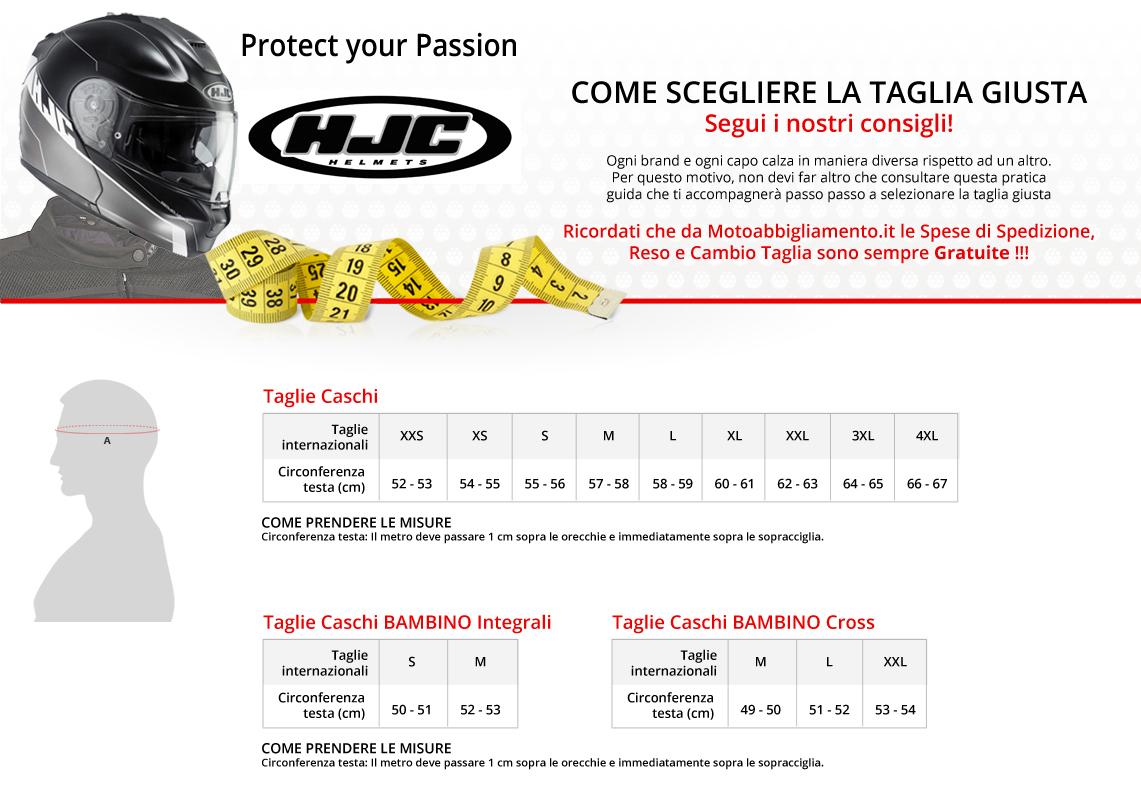 Tabella di comparazione taglie - HJC