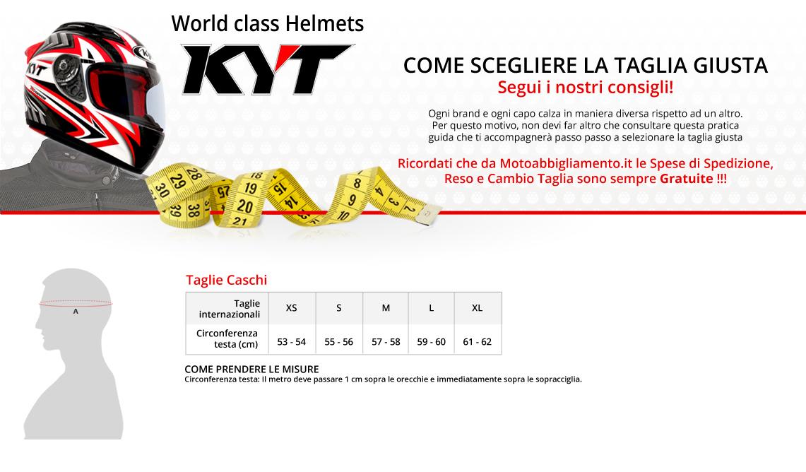 Tabella di comparazione taglie - Kyt