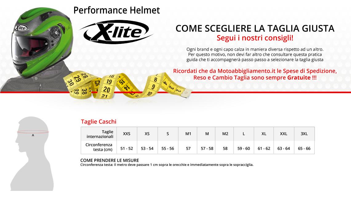 Tabella di comparazione taglie - X-Lite